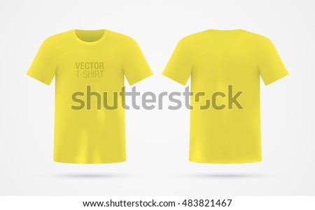 Mens Yellow Vector T Shirt Template Isolated On Background Realistic