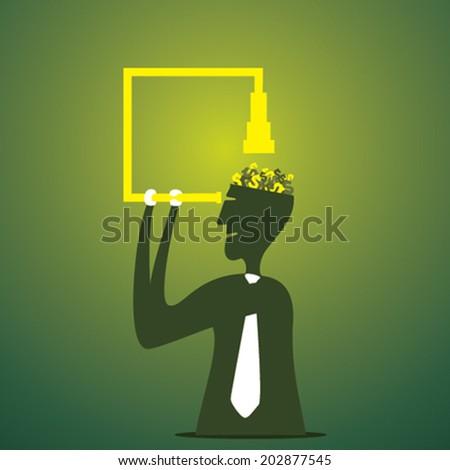 men see money by binocular in his head concept vector - stock vector