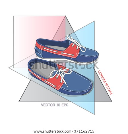 Men shoes pair on fashion background. Vector illustration. - stock vector