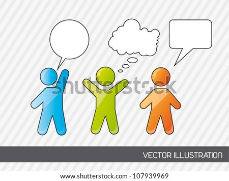men sign with thought bubbles. vector illustration - stock vector