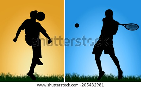 Men silhouettes - stock vector