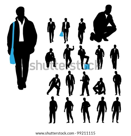 Men silhouettes on white background - stock vector