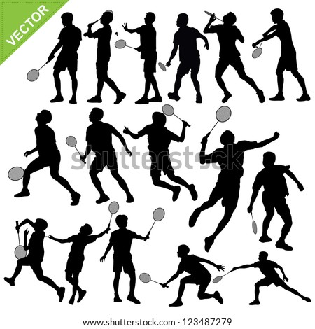 Men silhouettes play Badminton vector - stock vector