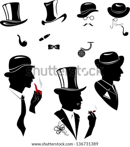 Men silhouettes  smoking cigar and pipe in vintage style isolated on white background - stock vector