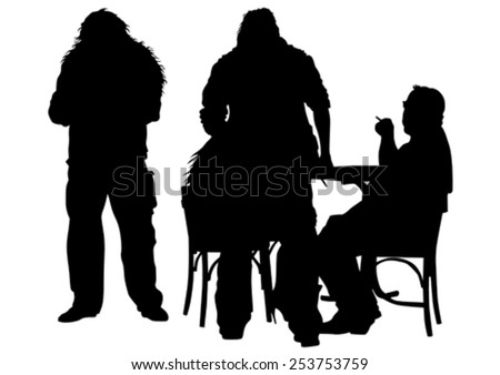 Men sit on chairs at table on a white background