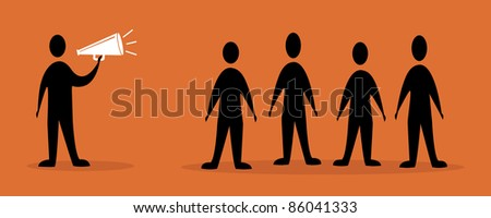 men speaking to the crowd - stock vector