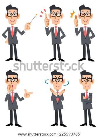 Men suit was wearing glasses (frontal) - stock vector