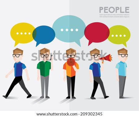 Men talks and gather together vector design - stock vector
