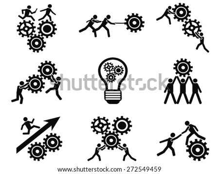 men teamwork gears pictogram icons set