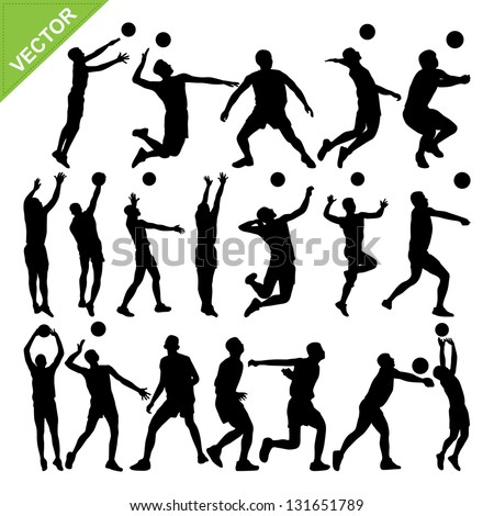 Men volleyball player silhouettes vector - stock vector