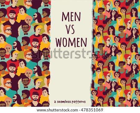 Men vs women crowd people color seamless patterns. Color vector illustration. EPS8