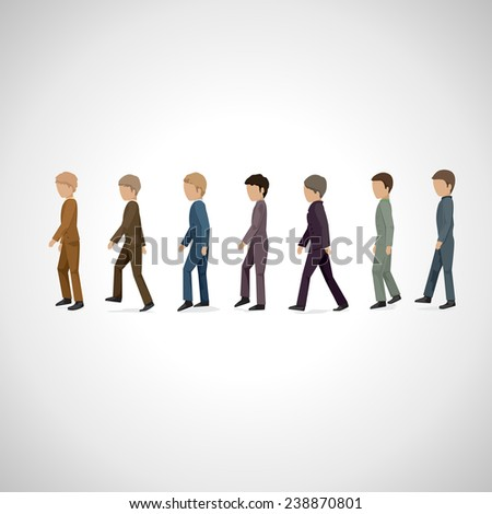 Men Walking In Line - Isolated On Gray Background - Vector Illustration, Graphic Design Editable For Your Design  - stock vector