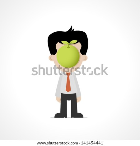 Men with an apple - stock vector