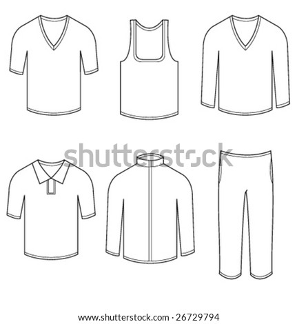 Men & women blank casual clothes and sportswear - stock vector