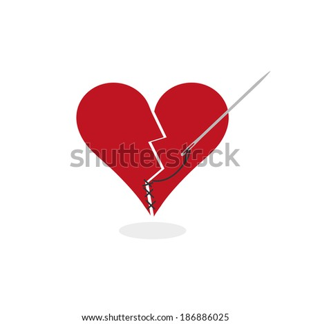 Mending a Broken Heart (Concept Illustration). Digital vector illustration about metaphorically fixing a stylized cracked in half red heart with needle and thread. Flat colors. Vector EPS. - stock vector