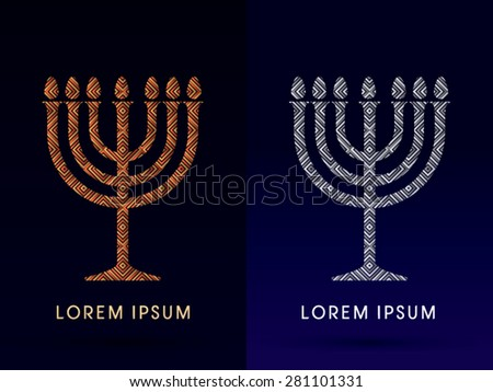Menorah Israel candle , design using gold and silver square, graphic vector. - stock vector