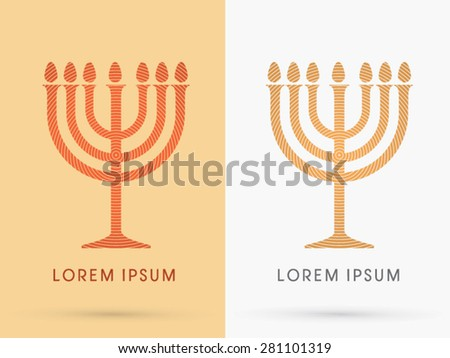 Menorah Israel candle , design using line cycle, graphic vector. - stock vector