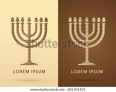 Menorah Israel candle, graphic vector. - stock vector