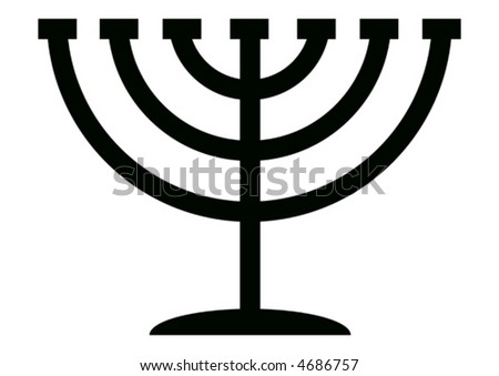 Menorah symbol of Hanukkah, 7 branched candlestick holder