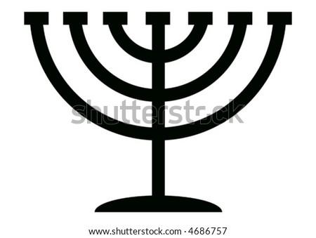Menorah symbol of Hanukkah, 7 branched candlestick holder - stock vector
