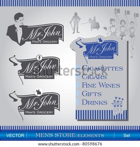 Mens Store elements - stock vector