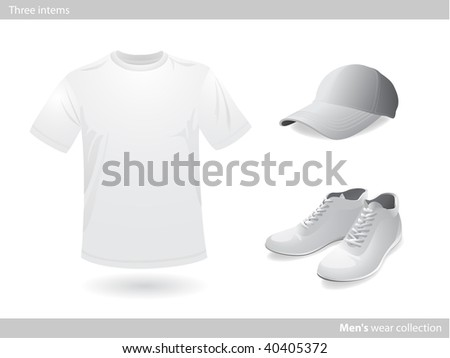 Mens wear white collection - stock vector