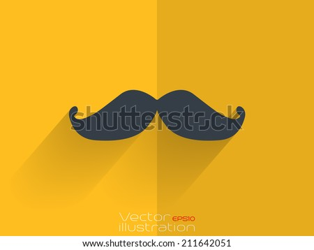 Mens whiskers sign on yellow background - stock vector