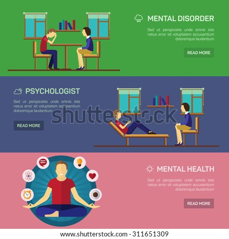 Mental disorder psychological treatment with principles of regaining balance flat horizontal banners set abstract isolated vector illustration - stock vector