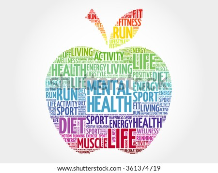 Mental health apple word cloud, health concept - stock vector
