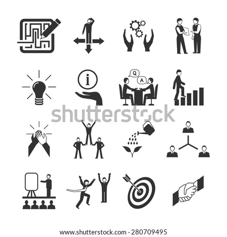 Mentoring black icons set with goal teamwork guidance symbols isolated vector illustration - stock vector