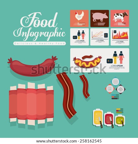 Menu and food design, vector illustration  - stock vector