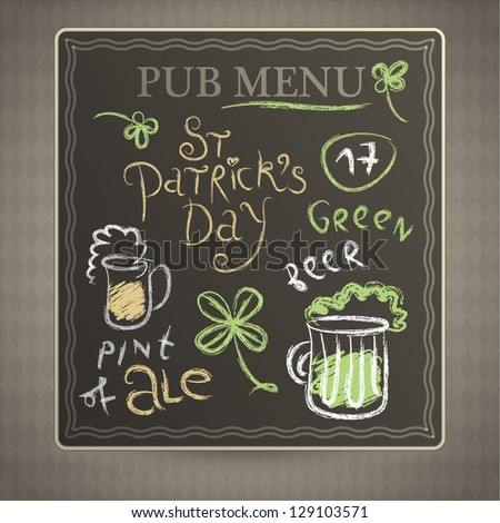 Menu blackboard on old wall - stock vector