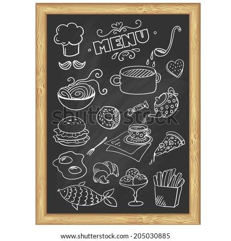 menu board. Set of food icons (vector) - stock vector