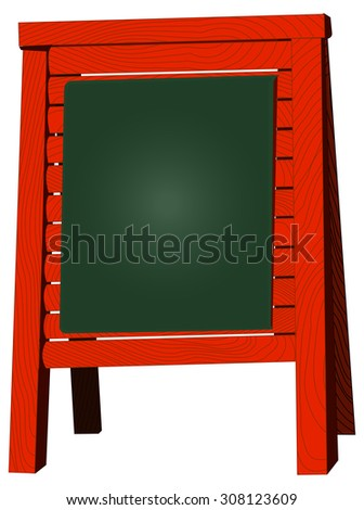 Menu board stand, blank blackboard, vector illustration, isolated on white - stock vector