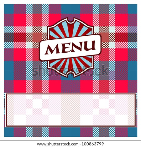 Menu Card Design template red blue cells - stock vector