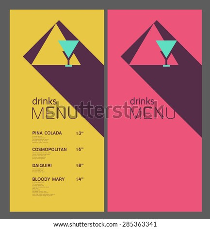 Menu cards design template. Banner for web. Ingredients and prices. For restaurant, cafe, bar, club. - stock vector
