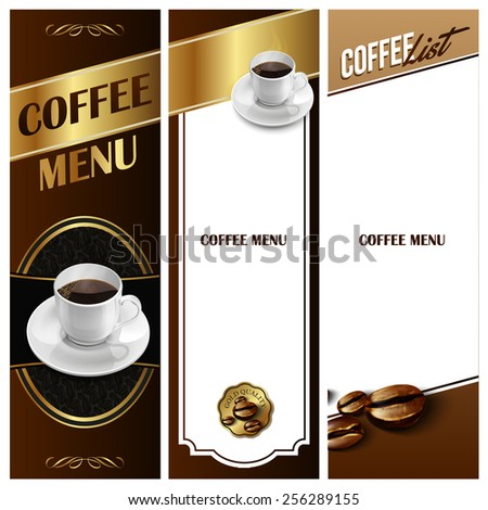 menu coffee  gold - stock vector