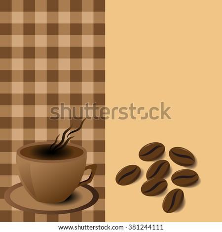 menu coffee mug with coffee beans - stock vector