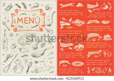 Title Page Menu List Restaurant Sketches Stock Vector