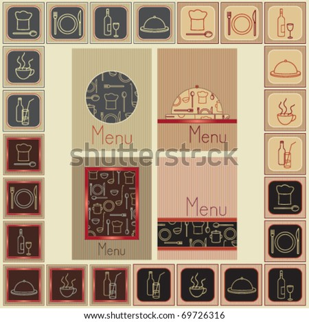 Menu covers and matching restaurant food and drink signs Four different menu covers and matching groups of six restaurant food and drink signs. - stock vector
