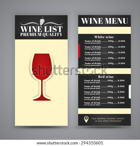 Menu design (brochures, flyers) for wine shops, cafes or restaurants. Vector illustration. - stock vector