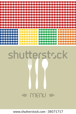 Menu design for restaurant or coffee shop. Cutlery silhouette and tablecloth texture. Food motif background. Vector available