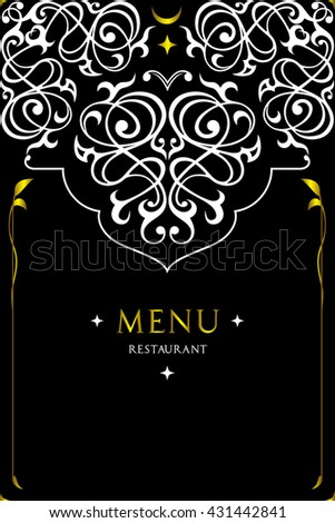 Menu design for restaurant.Oriental cuisine restaurant menu design.