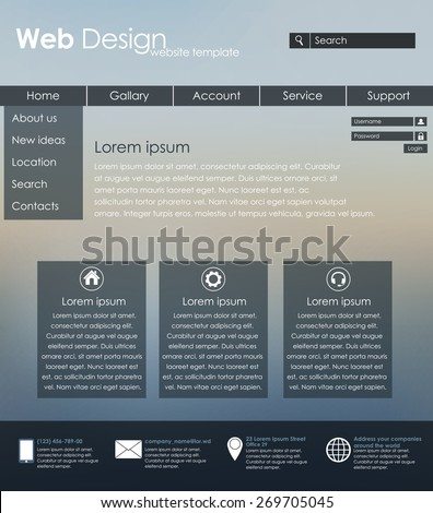 Menu design for web site with different interface elements. Template, blurred background.