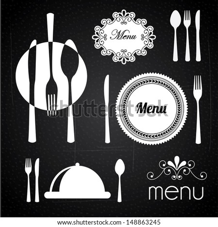 menu design over black background vector illustration