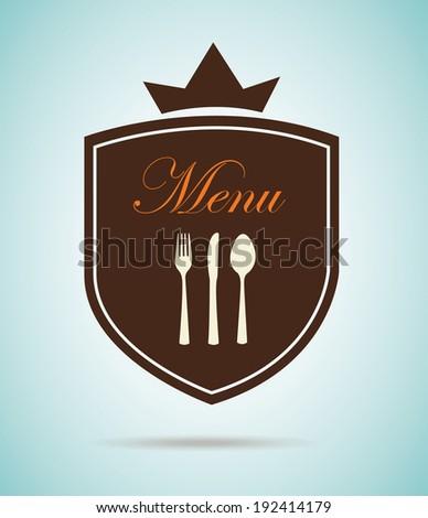 Menu design over blue background, vector illustration - stock vector