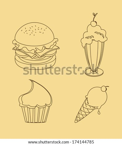 menu design over cream  background vector illustration