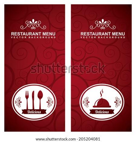 menu design over red  background vector illustration - stock vector