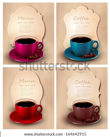 Menu design template. Cup of coffee with beans.Vector illustration.  - stock vector