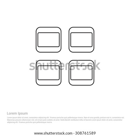 menu expand Outline Icon, Vector Illustration, Flat pictogram icon - stock vector